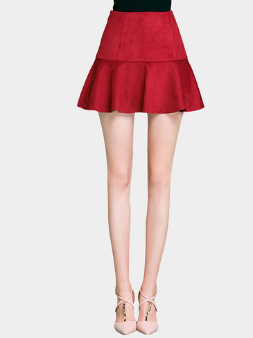 Burgundy Artificial Suede Skater Mini Skirt