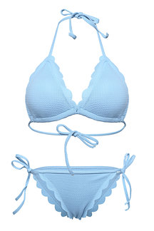 Light Blue Fashion Lace Up Sleeveless Swimwear Bikini Set