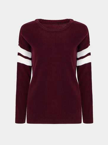 Burgund Stripe Sleeve Loose Sweater