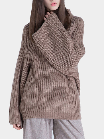 High Neck Knitted Jumper in Brown
