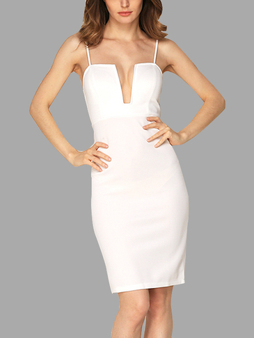 White Sexy Deep V Sleeveless Adjustable Spaghetti Strap Party Dress