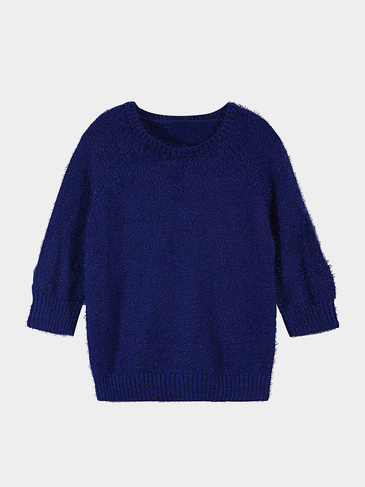 Navy Blue Mohair Jumper with Three-quarter Sleeve