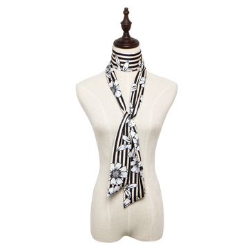 Striped Floral Print Silky-look Skinny Long Scarf in Black and Nude