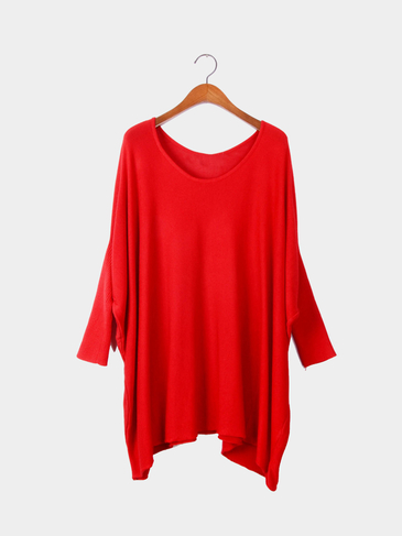 Red Bat Sleeves Loose Knitted Jumper