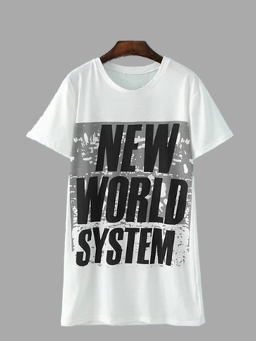 White NEW WORLD SYSTEM Print Longline Loose T-shirt