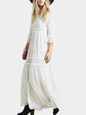 Bell Sleeves Embroidery Maxi Dress in White