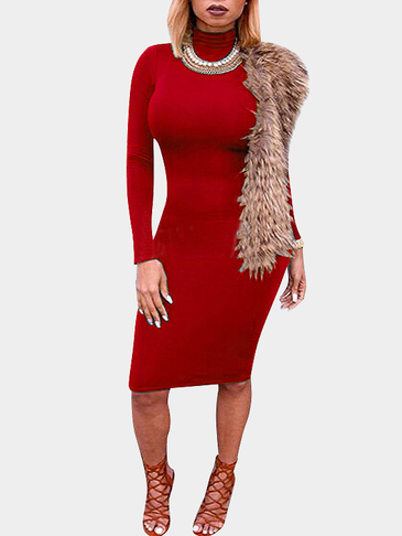 Red High Neck Sleeves Bodycon mini vestido