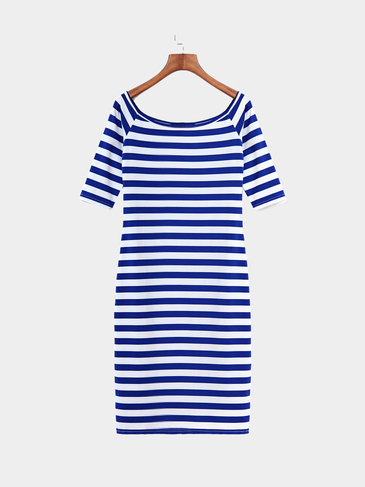 Bodycon Stripe Pattern Off Shoulder Midi Dress