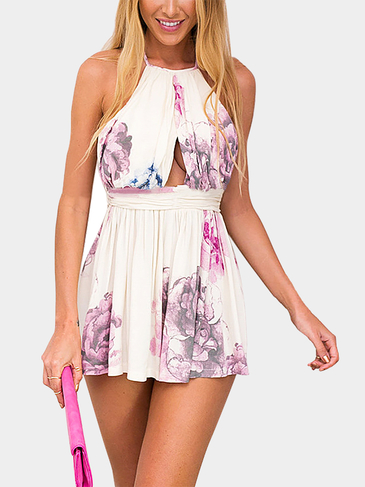 Sexy Floral Print Lace Back Playsuit with Cut Out Detail
