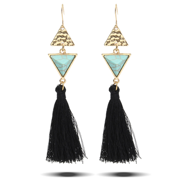 Green Triangle Alloy & Turquoise & Tassel Earrings