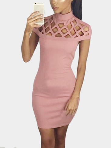Pink Sexy Hollow Details Sleeveless Casual Dress