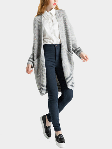 Light Grey Striped Knitted Cardigan with Open Front