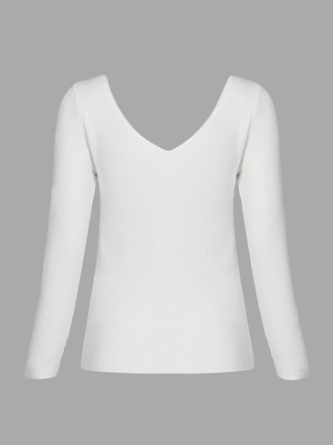 White Sexy V-neck Long Sleeves Sweater