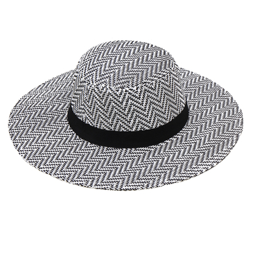 Wide-Brim Beach Straw Hat with Woven