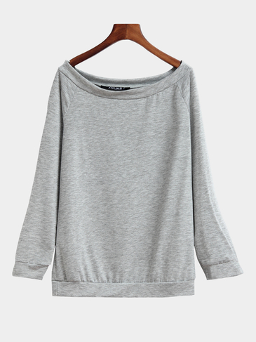 Light Grey Off Shoulder Long Sleeves Causal T-shirt
