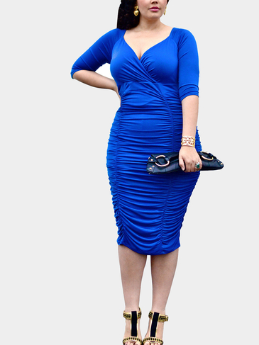 Blue Plus Size Wrap Front Drape Midi Dress
