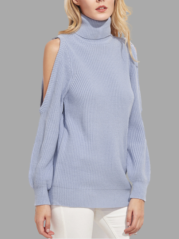 Sky Blue Fashion Cold Shoulder High Neck Long Sleeves Sweater
