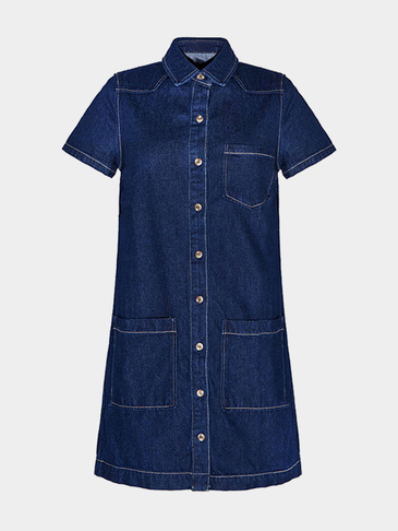 Back Cut Out Denim Shirt Dress