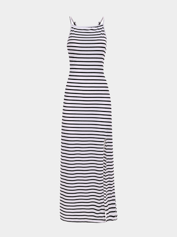Stripe Pattern Backless Cami Maxi Dress with Split Hem