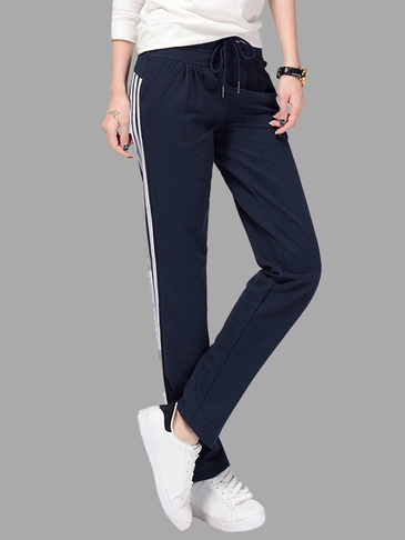 Blue Drawstring Waist Side Pockets Sport Trousers