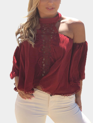 Burgundy Sexy Hollow Lace Details Top