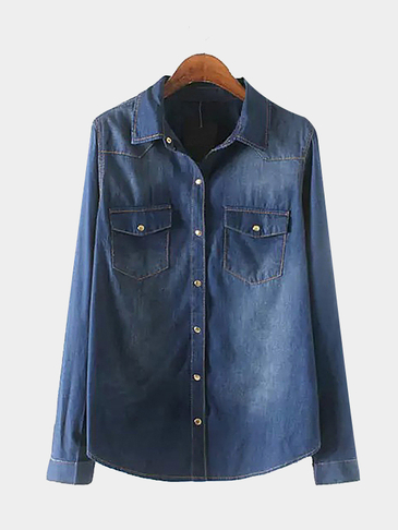 Curved Hem Denim Shirt in Navy