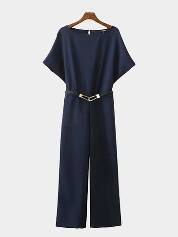 Navy Simple Belted Short Sleeve Jumpsuit