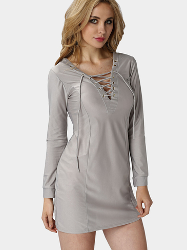 Grey Deep V Lace-up Front Design Party Dress