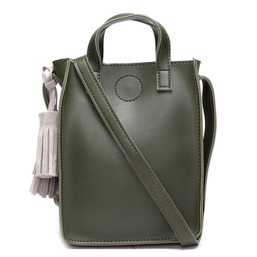 Green Fashion Shoulder Bag With Grey Tassel