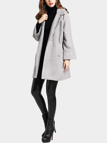 Grey Lapel Collier Duster Coat com bolso lateral