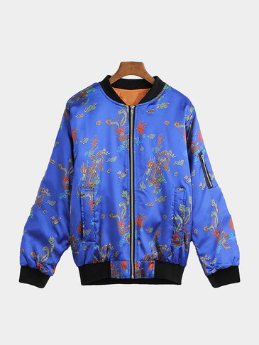 Blue Random Print Pattern Zipper Details Jacket