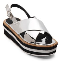 Silver Cross Strap Front Leather Look Ankle Strap Fastening Layer Platform Flat Sandal