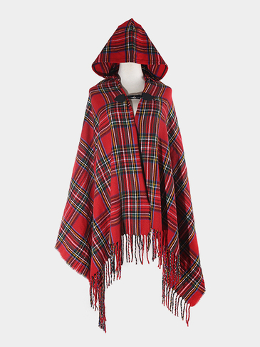 Red Hooded Cape In Check Pattern