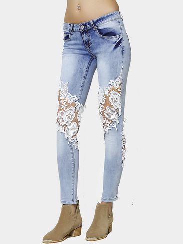 Skinny Jeans With Crochet Lace Panel
