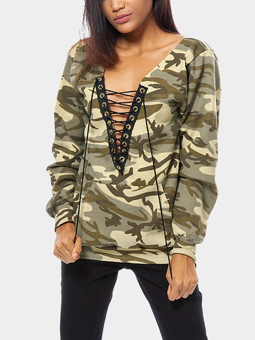 Light Camouflage Pattern Lace-up Design Sweatshirt