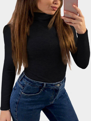 Black High Neck Long Sleeves Bodycon T-shirt