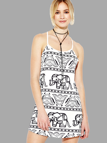 White Elephant Print Cami Mini Dress