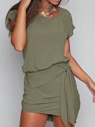 Verde Rodada Neck Auto-Tie Design Mini Dress
