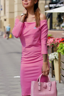Pink Off-shoulder Triangle Bodycon Dress
