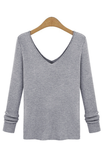 Light Grey Sexy V-neck Long Sleeves Sweater