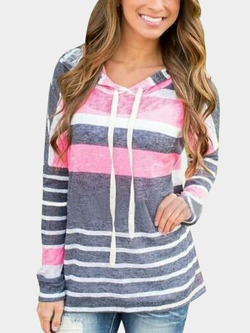 Fashion Rondom Striped Long Sleeves Loose Hoodie
