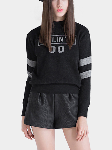 Розовый шея Fine Knit Sweater in Black