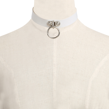 White Vintage Metal Choker Necklace