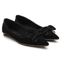 Black Bowknot Pointe Toe Suede Flat Chaussures