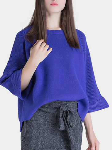 3/4 Length Sleeves High-low Hem Knitted Jumper in Purple