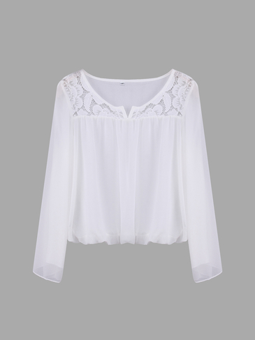 White Split Sleeve Chiffon Crop Top