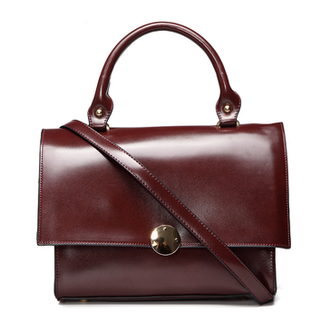 Dark Red Fashion PU Leather Handle Bag