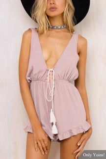 Sleeveless Backless Plunge V-neck Playsuit