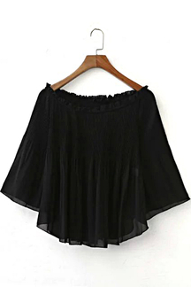 Pleated Off shoulder Chiffon Top with Long Sleeves