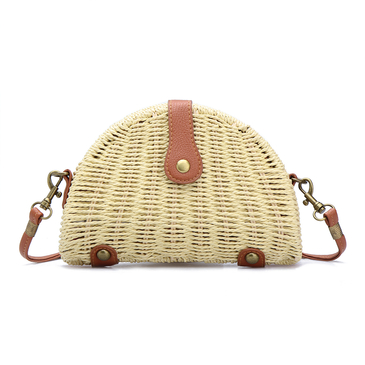 Beige Straw-woven Shoulder Bag With Flap Top